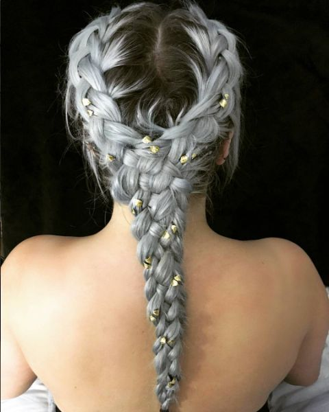 plaits with jewel accessories